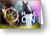 Miki Golf Art Greeting Cards - Golf in Crans sur Sierre Switzerland 03 Greeting Card by Miki De Goodaboom
