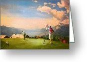 Miki Golf Art Greeting Cards - Golf in Crans sur Sierre Switzerland 04 Greeting Card by Miki De Goodaboom