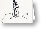 Championship Drawings Greeting Cards - Golf IV Greeting Card by Winifred Kumpf
