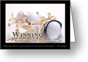 Glove Greeting Cards - Golf Motivational Poster Greeting Card by Tom Mc Nemar