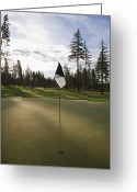 Golf Green Greeting Cards - Golf Putting Green at Sunset Greeting Card by Jetta Productions, Inc