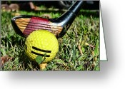 Golf Club Greeting Cards - Golf - tee time with a 3 Iron Greeting Card by Paul Ward