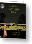 Backswing Greeting Cards - Golf  World Tour Scream Happy fathers Day Greeting Card by Eric Kempson