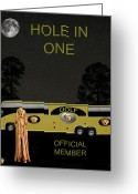 Backswing Greeting Cards - Golf World Tour Scream Tour Bus Hole In One Greeting Card by Eric Kempson