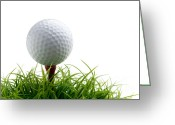Golf Green Greeting Cards - Golfball Greeting Card by Kati Molin