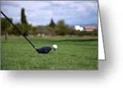 Playing Golf Greeting Cards - Golfclub And Ball Greeting Card by Miguel Sotomayor