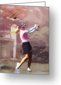 Golf Digital Art Greeting Cards - Golfer Greeting Card by David PixelParable