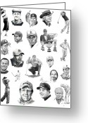 Celebrities Drawings Greeting Cards - Golfers Greeting Card by Murphy Elliott