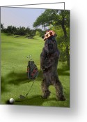 Playing Golf Greeting Cards - Golfing terrier Greeting Card by Gina Femrite