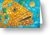 Caribbean Sea Tapestries - Textiles Greeting Cards - Goliath Greeting Card by Daniel Jean-Baptiste