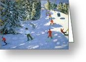Lesson Greeting Cards - Gondola Austrian Alps Greeting Card by Andrew macara