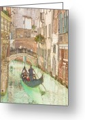 Canal Drawings Greeting Cards - Gondola on Canal in Venice Greeting Card by Michael Henderson