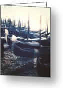 Back Light Greeting Cards - gondolas - Venezia Greeting Card by Joana Kruse