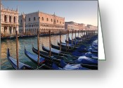 Beauty Mark Greeting Cards - Gondolas Docked Outside Of Piazza San Greeting Card by Jim Richardson