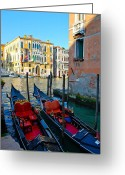 Venetian Architecture Greeting Cards - Gondolas Greeting Card by Dorota Nowak