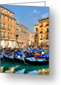 Canal Greeting Cards - Gondolas in the Square Greeting Card by Peter Tellone