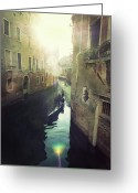 Gondola Photo Greeting Cards - Gondolas In Venice Against Sun Greeting Card by Marco Misuri