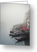 Mooring Greeting Cards - Gondolas On Grand Canal In Fog Greeting Card by Silvia Sala