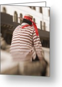 Vacationers Greeting Cards - Gondolier Greeting Card by Eggers   Photography