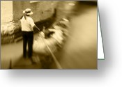 Vacationers Greeting Cards - Gondolier Heading Home Greeting Card by Eggers   Photography