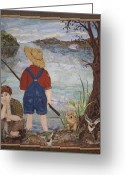 Transportation Tapestries - Textiles Greeting Cards - Gone Fishin Greeting Card by Kathy McNeil