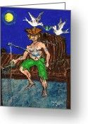 Caribbean Art Pastels Greeting Cards - Gone Fishing Greeting Card by William Depaula