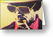 Celebrity Drawings Greeting Cards - Gonzo - Hunter S. Thompson Greeting Card by Eric Dee