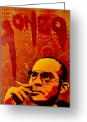 Writer Greeting Cards - Gonzo - Hunter S. Thompson Greeting Card by Iosua Tai Taeoalii