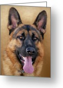 Alsatian Greeting Cards - Good Boy Greeting Card by Sandy Keeton