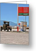 Gas Stations Greeting Cards - Good bye Death Valley - The End of the Desert Greeting Card by Christine Till
