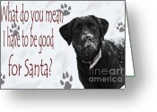 Black Lab Greeting Cards - Good For Santa Greeting Card by Cathy  Beharriell