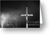 Typhoon Greeting Cards - Good Friday - Crucifixion of Jesus BW Greeting Card by James Bo Insogna