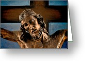 Crucifix Art Greeting Cards - Good Friday Jesus on the Cross Greeting Card by Christine Till