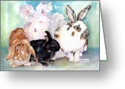 Rabbit Prints Greeting Cards - Good Hare Day Greeting Card by Pat Saunders-White