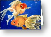 Orange And Yellow Heart Greeting Cards - Good Luck Goldfish Greeting Card by Samantha Lockwood