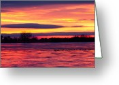 Sunset Posters Greeting Cards - Good Morning Geese Greeting Card by James Bo Insogna