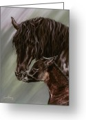 Horses Pastels Greeting Cards - Good Morning Greeting Card by Kim EcElroy