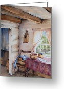 Cabin Window Painting Greeting Cards - Good Morning Mr. Lincoln Greeting Card by Amy Caltry