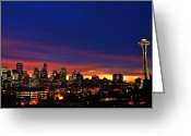 Seattle Skyline Greeting Cards - Good Morning Seattle Greeting Card by Benjamin Yeager