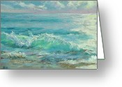 Nauset Beach Greeting Cards - Good Morning Surf Greeting Card by Barbara Hageman