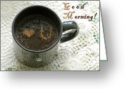 Barista Greeting Cards - Good Morning To The Loved One Greeting Card by Ausra Paulauskaite