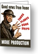 War Production Greeting Cards - Good News From Home More Production Greeting Card by War Is Hell Store