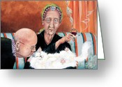 Elderly Painting Greeting Cards - Good Night Kiss Greeting Card by Shelly Wilkerson