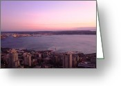 Seattle Skyline Greeting Cards - Good Night Seattle Greeting Card by Kylani Arrington