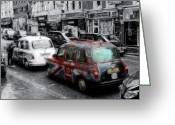 Taxi Cab Greeting Cards - Good old London Cab Greeting Card by Stefan Kuhn