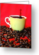 Coffee Beans Greeting Cards - Good To The Last Drop Greeting Card by Emily Stauring