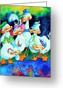 Children Book Illustrator Greeting Cards - Goofy Gaggle of Grinning Geese Greeting Card by Hanne Lore Koehler