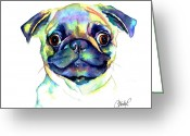 Custom Portrait Greeting Cards - Google Eyed Pug Greeting Card by Christy  Freeman