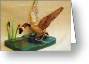 Wildlife Sculpture Greeting Cards - Goose Landing Greeting Card by Russell Ellingsworth