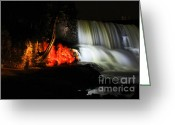 Noth Greeting Cards - Gooseberry falls with a side of fire Greeting Card by Jamie Rabold